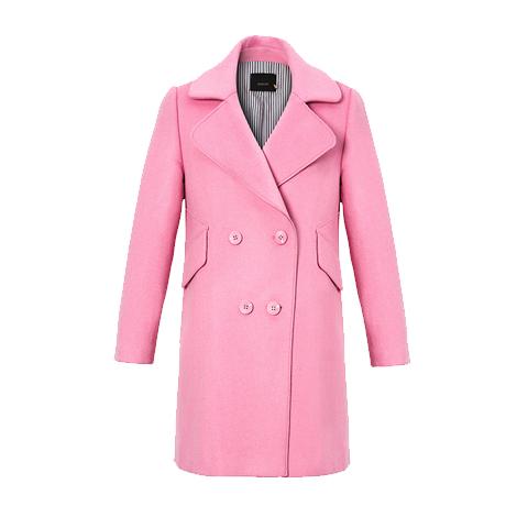 修身中长款长袖呢大衣